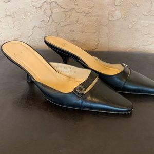 Coach Francesca Black Leather Slides Shoes 6B